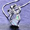 Retro 925 Silver Jewelry Cat White Fire Opal Charm Pendant Necklace Chain 1PC