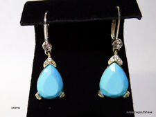 "Turquoise Tier Drop Earrings in Silver Tone Setting Accent CZ 1½"" Drop FREE SHIP"