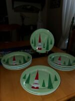 "Rosanna Studio 8"" Salad/Dessert Plates Santa and Christmas Trees Set of 4"