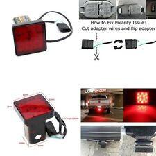 "Red 12LED 2"" Trailer Hitch Cover Mount Tail Brake Light Tow Bar Lamp For Turck"