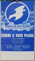 Affiche Originale ✤ Shakespeare ✤ Comédie de St-Étienne ✤ à Chambéry 1975