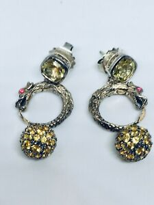 JOHN HARDY Trunk Show Naga Dragon Earrings 18k Gold Silver Sapphire Prasiolite
