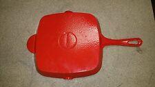 """Technique Red Cast Iron Square 9 1/2"""" Skillet grill pan  Enamelware Pour Spouts"""