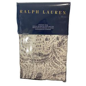 "Ralph Lauren Dover Street Gwendolyn Standard Pillow Sham $185 20x28"" Grey Floral"