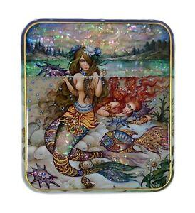 Beautiful Russian Kholui Lacquer Box MERMAID #4233