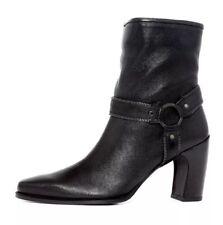 Stuart Weitzman Women's Black Leather Whyzip Boot 6264 Size 10M