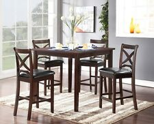 PU Cushion Seats 5pc Rubberwood Dining Table Chair Set Contemporary Dining Room