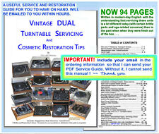 Dual Turntable vintage model Service Pdf 95p incl cosmetic restoration guidance