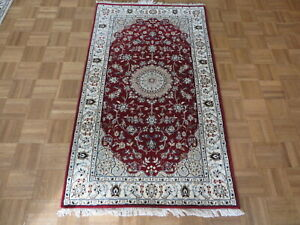 3 x 5'3 Hand Knotted Red Fine Nain With Silk Oriental Rug G7932