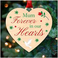 PERSONALISED Christmas Memorial Remembrance Heart Decoration Mum Dad Nan Grandad