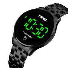 SKMEI Men Touch Screen Digital LED Date Stainless Steel Strap Quartz Watch Black