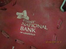 "Vintage Louisville Slugger Right Hand Baseball Glove, ""First National Bank"" 10"""