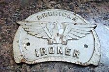 Antique Vtg American Ironer Industrial Equipment Cast Iron Advertising Plaque