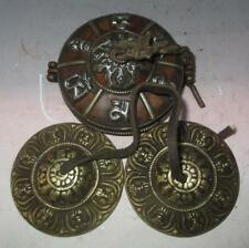 Old Tibet Tibetan Buddhist Bronze Tingsha Cymbals With 6 Mantras Box