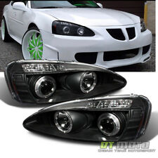 Black 2004-2008 Pontiac Grand Prix LED Dual Halo Projector Headlights Left+Right
