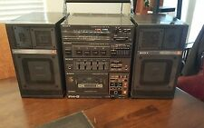 Vtg Sony FH-5 AM/FM Stereo Mini Component System Boombox w/ Square APM-058 Spkrs