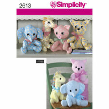 Simplicity 2613 Sewing Pattern Stuffed Soft Toys - Cat Pig Elephant Giraffe