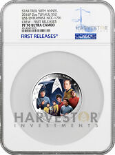 2016 STAR TREK ORIGINAL SERIES 2 OZ. SILVER - THE CREW - NGC PF70 FIRST RELEASES
