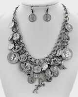 Western Hematite Draping Chain Coin Horse Steer Cowgirl Charm Necklace Set
