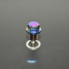 NEO CHROME ANODIZED MAGNETIC ENGINE OIL PAN DRAIN PLUG/BOLT w/ WASHER M12X1.5