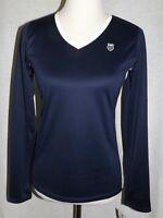 K-SWISS Women's Size M  Shirt Long Sleeve V Neck Navy Blue White K-Wick Dry