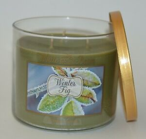 1 BATH & BODY WORKS WINTER FIG SCENTED CANDLE 3 WICK 14.5 OZ LARGE WHITE BARN