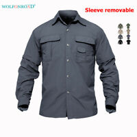 Removable Quick Dry Mens Tactical Army Shirts Outdoor Hiking Fishing T-Shirts