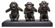 Veronese Bronze Figurine Animal Chimpanzee Three 3 Wise Monkeys no evil