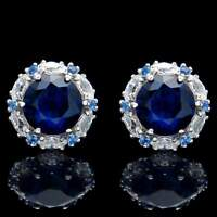 2.00 CT Blue Sapphire Halo Marquise Created Diamond Earrings 14k White Gold