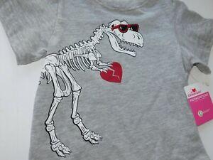 Boy Infant Toddler Shirt 12 18 Month Dinosaur Skeleton Heart Breaker Gray