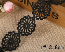 5 yards Crochet Black embroidery Lace Trim Wedding dress clothing decoration