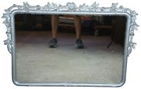 """Antique French Silvertone Wall Mirror With Floral Accents 36"""" Over Mantel"""
