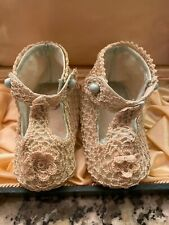 Sweet Antique Victorian Edwardian Silk Lace Baby Shoes Stamped  Made In Japan