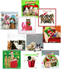 Funny Animals Pack of 10 Christmas Cards Dog Cat Guinea Pig Hamster Meerkat Xmas