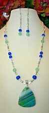 PRETTY GREEN & BLUE DRAGONS VEIN AGATE STONE PENDANT HANDMADE NECKLACE + EARRING