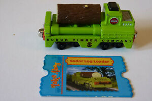 SODOR TIMBER CO. TRANSPORTER WAGON, LOG & CARD, VGC. Take n'Play Thomas. P+P DIS