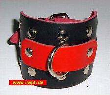 Lederarmband schwarz und Rot mit Nieten + Schmuck D-Ring Schmuckstück aus Leder