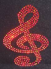 Cleff MUSIC NOTE RED Motif iron-on hotfix rhinestone diamonte diamante applique