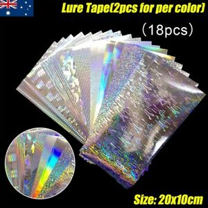 18X Flasher/Dodger/Lure Reflective Holographic Fishing Lure Tape DIY Set 20x10cm