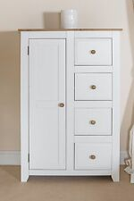 Avalon Tallboy 1 Door Wardrobe 4 Drawers Solid Wood White Painted and Solid Pine
