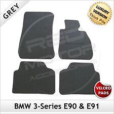 BMW SERIE 3 e90 e91 2005-2013 Velcro Lusso Su Misura 1300g grigio tappetini per AUTO