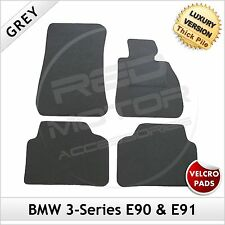 BMW 3-Series E90 E91 2005-2013 Velcro Tailored LUXURY 1300g Car Carpet Mats GREY