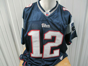VINTAGE REEBOK AUTHENTIC NEW ENGLAND PATRIOTS #12 SEWN SIZE 54 BLUE JERSEY