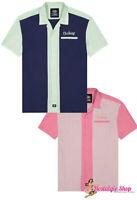 Dickies 2-Tone Bowlingshirt Workshirt Hemd 50s Rockabilly Hot Rod Oldschool rosa