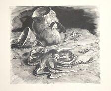 """Gravure sur bois XXe """"Nature morte à la pieuvre"""" monogrammé JC"""