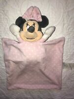 Minnie Mouse Plush Holding Baby Lovey Security Blanket Pink Polka Dot Disney