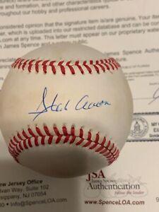 JSA HANK AARON AUTOGRAPHED SIGNED OFFICIAL NATIONAL LEAGUE BASEBALL!! CRISP SIG