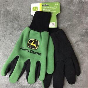 John Deere Light-Duty Cotton Grip Gloves **2 Pairs** Gardening - Adult Large L