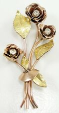 "Vintage Coro Rose Yellow Gold Tone Metal Clear Rhinestone Brooch Flowers 3"" 1945"