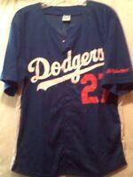 Los Angeles LA Dodgers Matt Kemp 27 Baseball Jersey Button Down Blue Size M